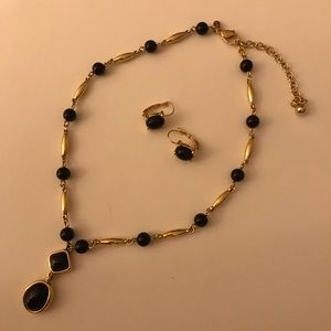 Monet Black & Gold Necklace and Earring Set